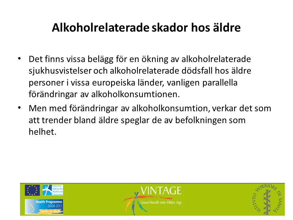 Alkoholrelaterade skador hos äldre • Det finns vissa belägg för en ökning av alkoholrelaterade sjukhusvistelser och alkoholrelaterade dödsfall hos äld