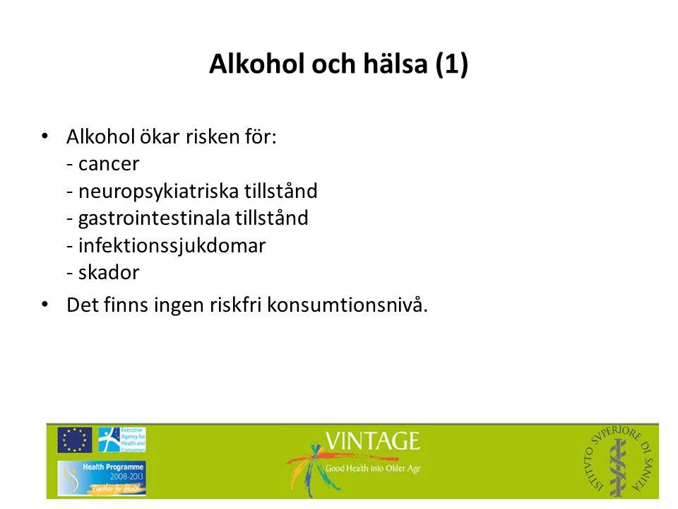 Alkohol och hälsa (1) • Alkohol ökar risken för: - cancer - neuropsykiatriska tillstånd - gastrointestinala tillstånd - infektionssjukdomar - skador •