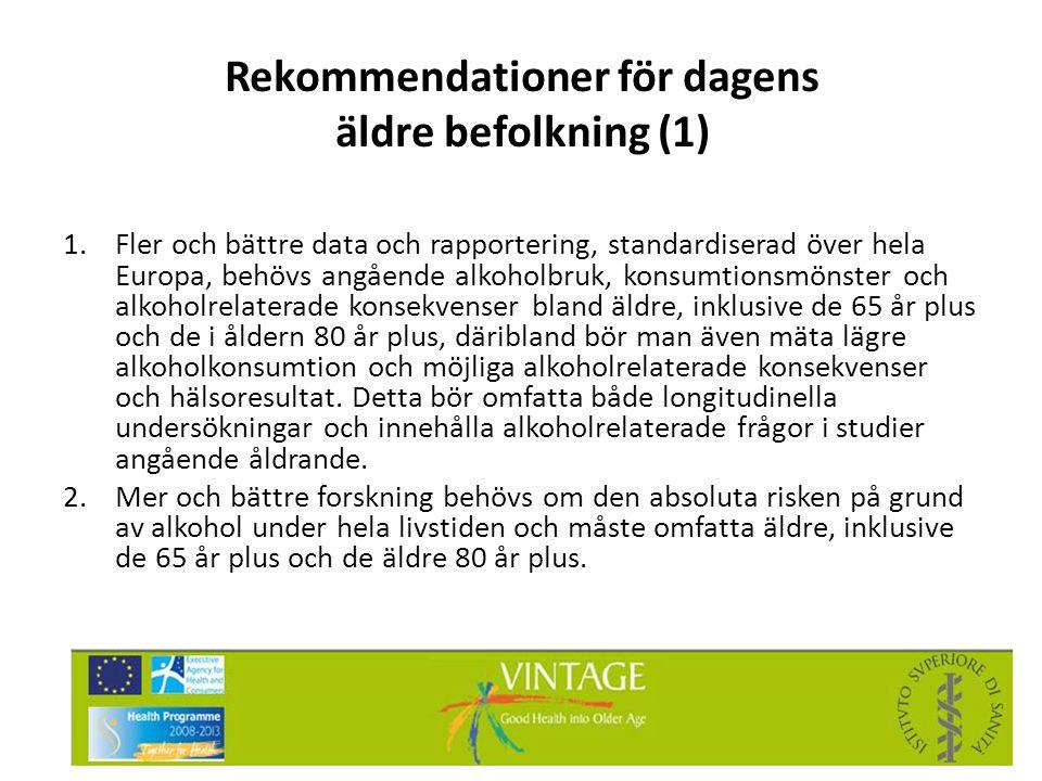 Rekommendationer för dagens äldre befolkning (1) 1.Fler och bättre data och rapportering, standardiserad över hela Europa, behövs angående alkoholbruk