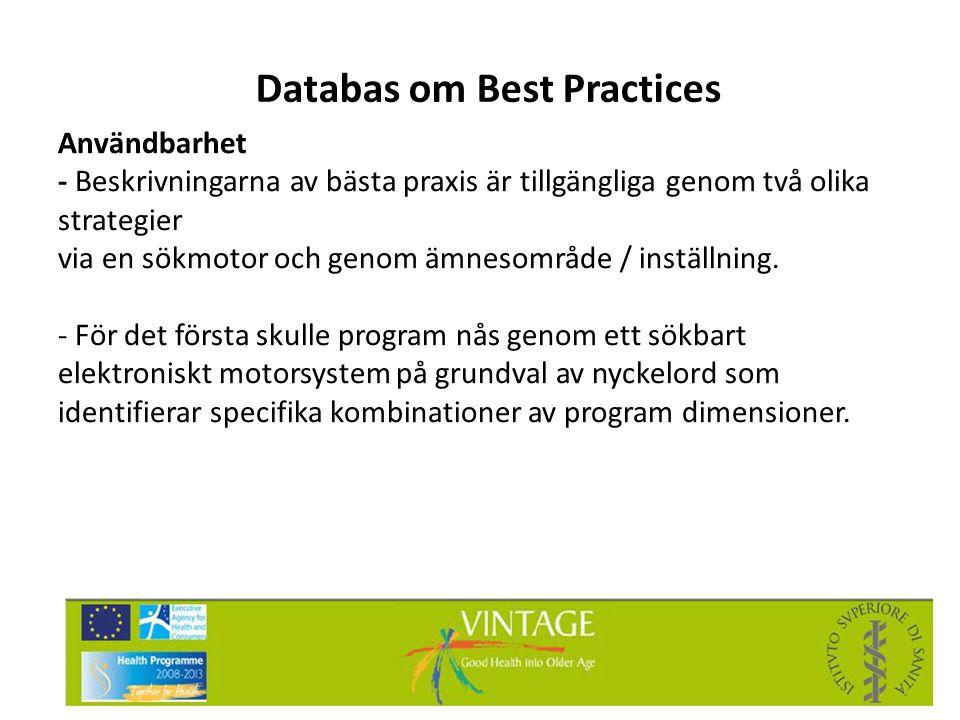 Databas om Best Practices Användbarhet - Beskrivningarna av bästa praxis är tillgängliga genom två olika strategier via en sökmotor och genom ämnesomr