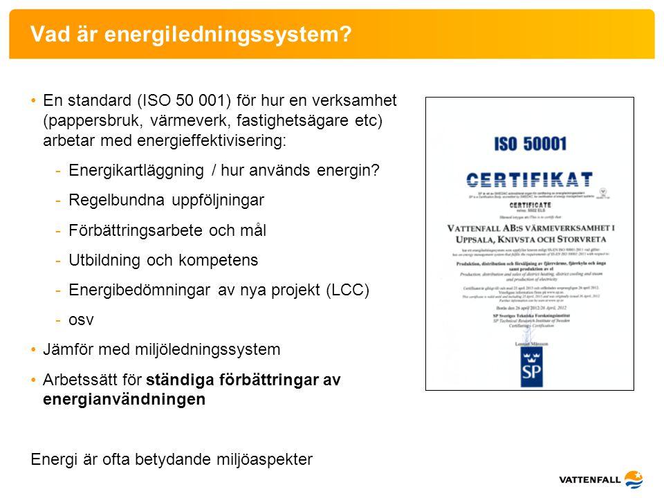 Vad är energiledningssystem? •En standard (ISO 50 001) för hur en verksamhet (pappersbruk, värmeverk, fastighetsägare etc) arbetar med energieffektivi