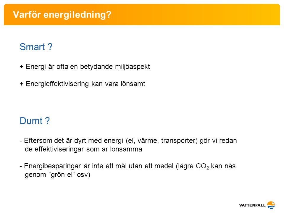 Varför energiledning? Smart ? + Energi är ofta en betydande miljöaspekt + Energieffektivisering kan vara lönsamt Dumt ? - Eftersom det är dyrt med ene