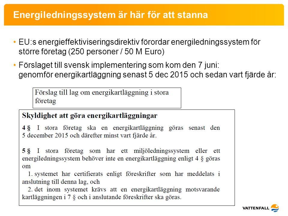 Elbesparing Exempel på elbesparing: • Väntade = planerade projekt: -Ny luftfläkt 1 200 MWh/år (400 lghter…) -Ny rökgasfläkt 2 000 MWh/år -Invändig coatning fjv-pump 1 000 MWh/år -… • Oväntade = förslag från personalen och genom projektet -Avstängning EMF-filter 500 MWh/år -Ändrad drift fläktar kylsystem 40 MWh/år -Ändrad drift kylvattenpumpar 60 MWh/år -… Diagram elförbrukning