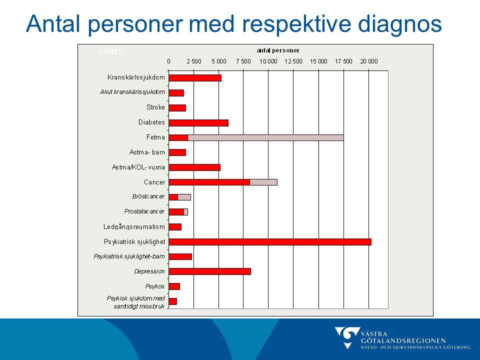 Antal personer med respektive diagnos HSN 5