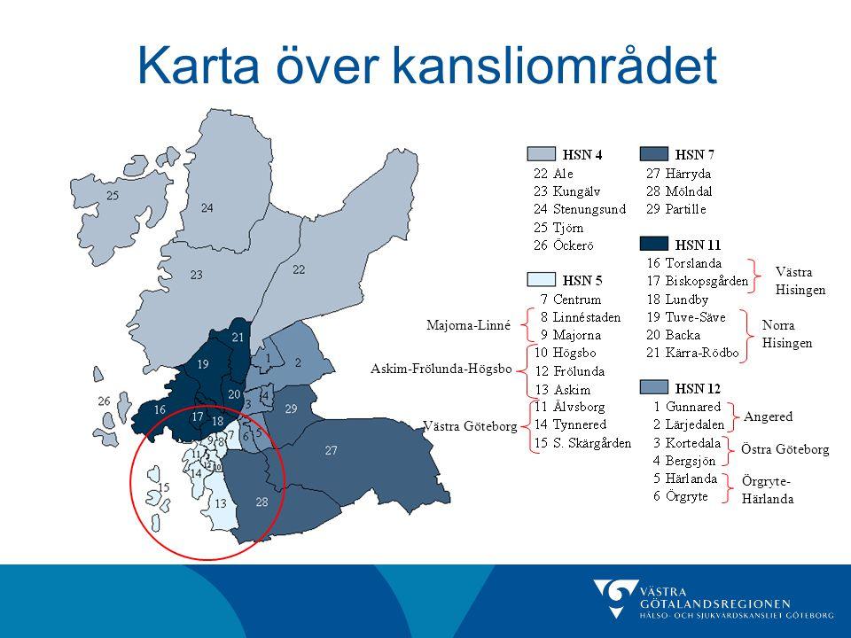 Västra Hisingen Askim-Frölunda-Högsbo Västra Göteborg Majorna-LinnéNorra Hisingen Angered Östra Göteborg Örgryte- Härlanda Karta över kansliområdet