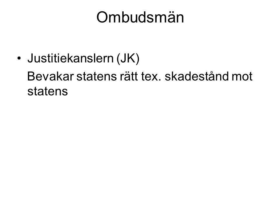 Ombudsmän •Justitiekanslern (JK) Bevakar statens rätt tex. skadestånd mot statens