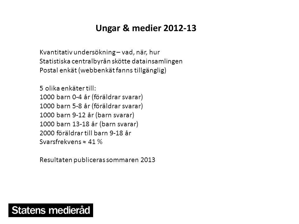 8 Ungar & medier 2012-13 Kvantitativ undersökning – vad, när, hur Statistiska centralbyrån skötte datainsamlingen Postal enkät (webbenkät fanns tillgä