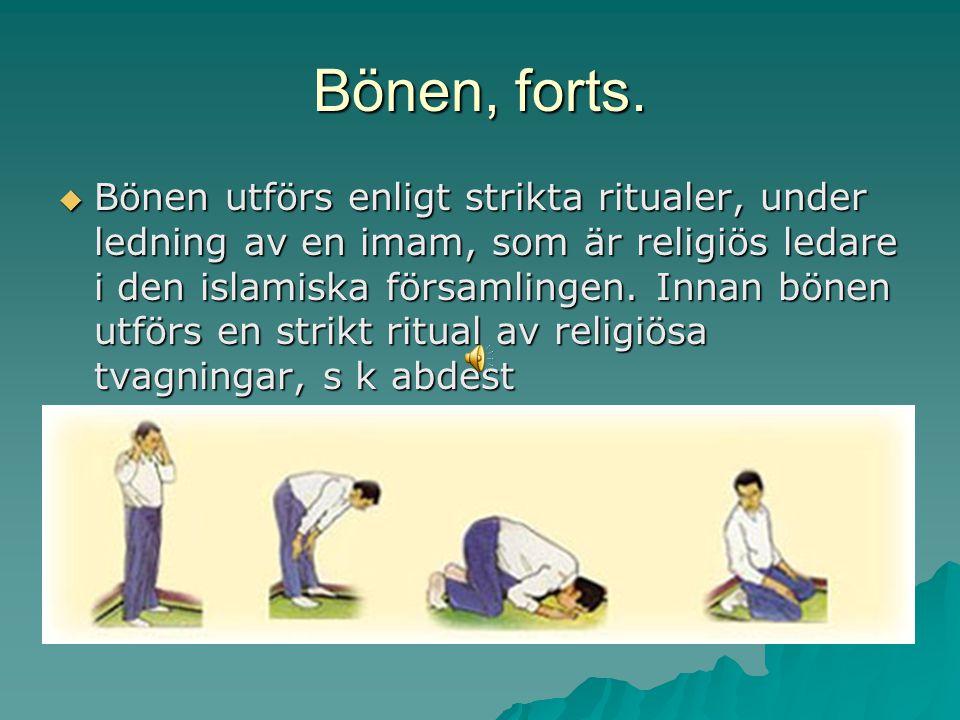 Bönen, forts.  Bönen utförs enligt strikta ritualer, under ledning av en imam, som är religiös ledare i den islamiska församlingen. Innan bönen utför