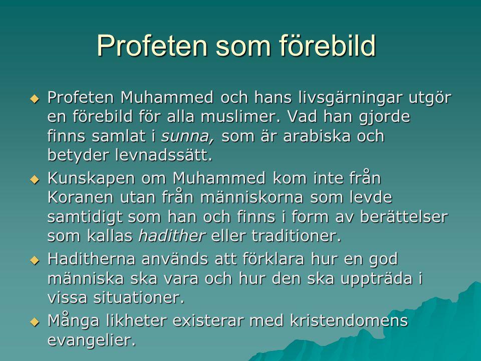Profeten som förebild  Profeten Muhammed och hans livsgärningar utgör en förebild för alla muslimer. Vad han gjorde finns samlat i sunna, som är arab
