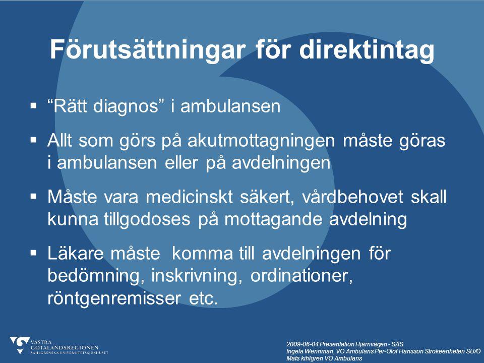 """2009-06-04 Presentation Hjärnvägen - SÄS Ingela Wennman, VO Ambulans Per-Olof Hansson Strokeenheten SU/Ö Mats kihlgren VO Ambulans  """"Rätt diagnos"""" i"""