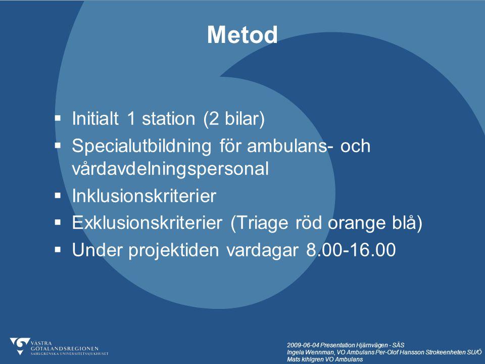 2009-06-04 Presentation Hjärnvägen - SÄS Ingela Wennman, VO Ambulans Per-Olof Hansson Strokeenheten SU/Ö Mats kihlgren VO Ambulans  Initialt 1 statio