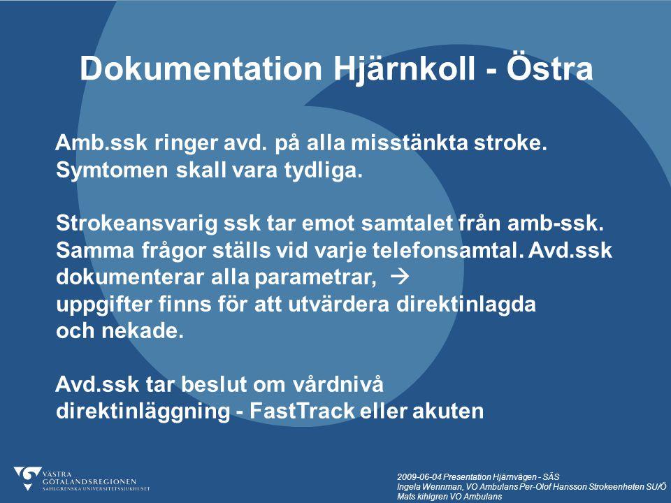 2009-06-04 Presentation Hjärnvägen - SÄS Ingela Wennman, VO Ambulans Per-Olof Hansson Strokeenheten SU/Ö Mats kihlgren VO Ambulans Dokumentation Hjärn