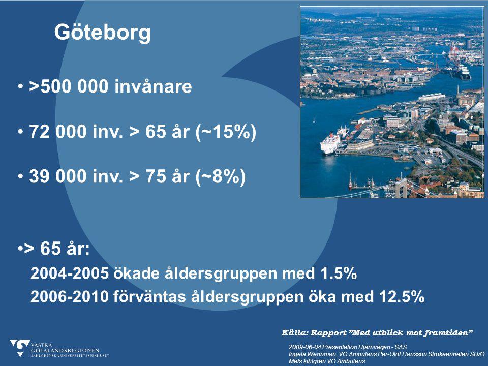 2009-06-04 Presentation Hjärnvägen - SÄS Ingela Wennman, VO Ambulans Per-Olof Hansson Strokeenheten SU/Ö Mats kihlgren VO Ambulans Så här ser det ut i Göteborg 8 % av befolkningen är äldre än 75 år Källa: www.goteborg.se
