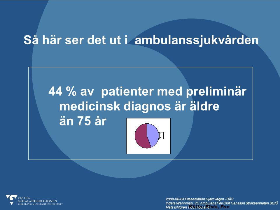 2009-06-04 Presentation Hjärnvägen - SÄS Ingela Wennman, VO Ambulans Per-Olof Hansson Strokeenheten SU/Ö Mats kihlgren VO Ambulans I genomsnitt åker var tredje person äldre än 75 år ambulans till medicinakuten en gång per år.