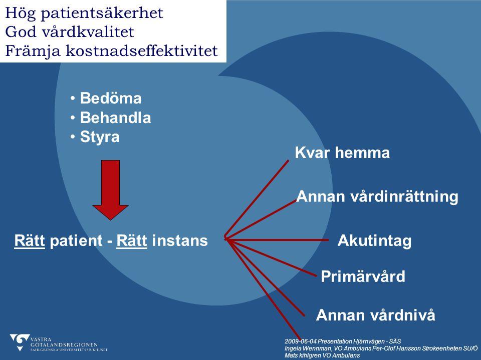 2009-06-04 Presentation Hjärnvägen - SÄS Ingela Wennman, VO Ambulans Per-Olof Hansson Strokeenheten SU/Ö Mats kihlgren VO Ambulans Ambulanstid, under strokeprojekttiden Jämförelsegrupp (n=24) Fast-Track (n= 10 ) Upptagettid Medel 43 min Median 43 min Medel 64 min Median 67,5 min Genomsnittlig mertid i ambulans + 21 min