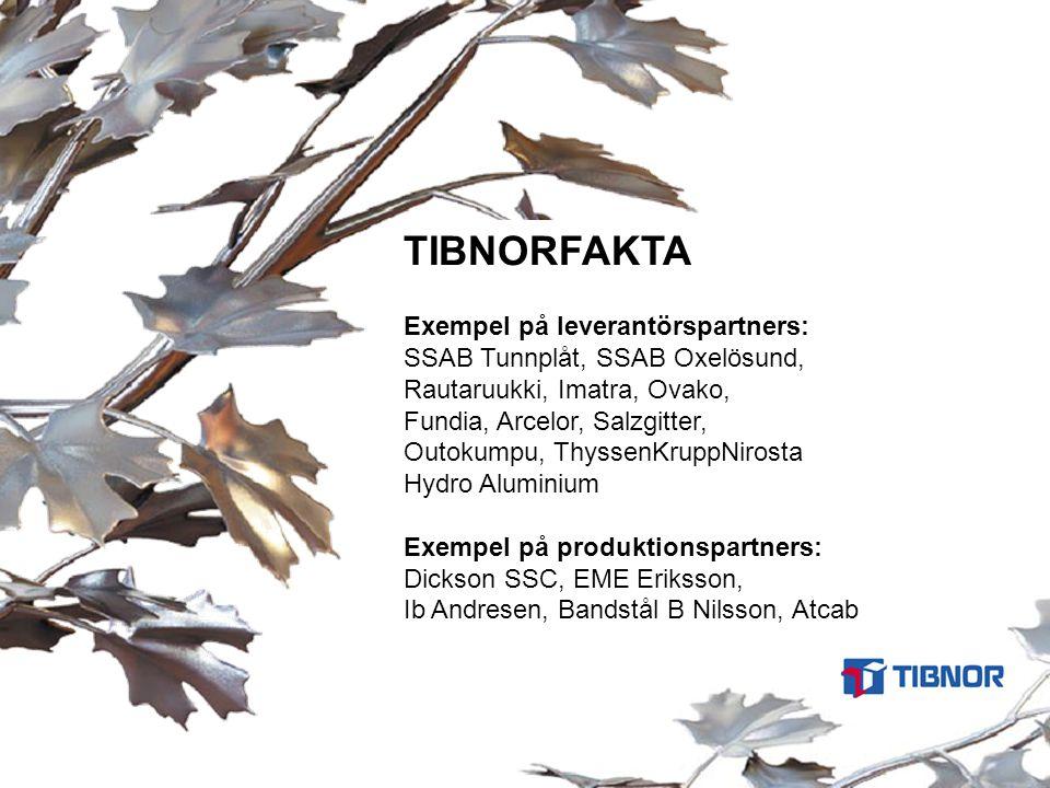 TIBNORFAKTA Exempel på leverantörspartners: SSAB Tunnplåt, SSAB Oxelösund, Rautaruukki, Imatra, Ovako, Fundia, Arcelor, Salzgitter, Outokumpu, Thyssen