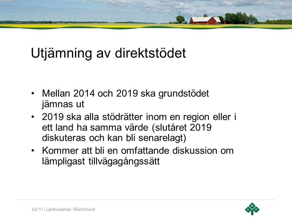 Sid 11 | Lantbrukarnas Riksförbund Utjämning av direktstödet •Mellan 2014 och 2019 ska grundstödet jämnas ut •2019 ska alla stödrätter inom en region
