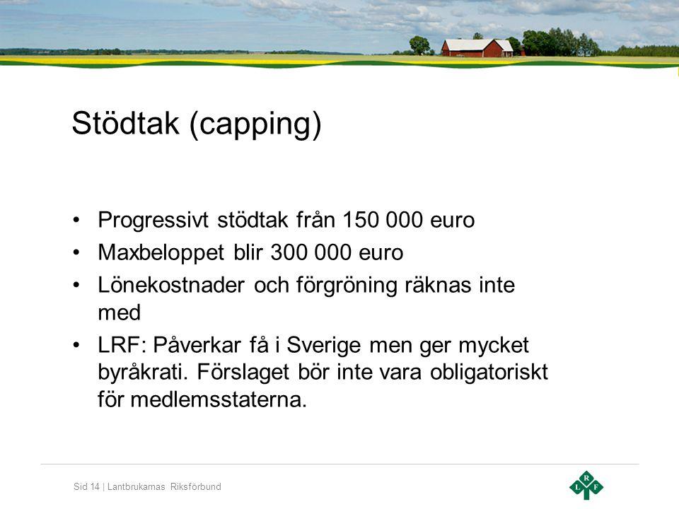 Sid 14 | Lantbrukarnas Riksförbund Stödtak (capping) •Progressivt stödtak från 150 000 euro •Maxbeloppet blir 300 000 euro •Lönekostnader och förgröni