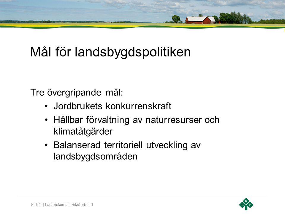 Sid 21 | Lantbrukarnas Riksförbund Mål för landsbygdspolitiken Tre övergripande mål: •Jordbrukets konkurrenskraft •Hållbar förvaltning av naturresurse