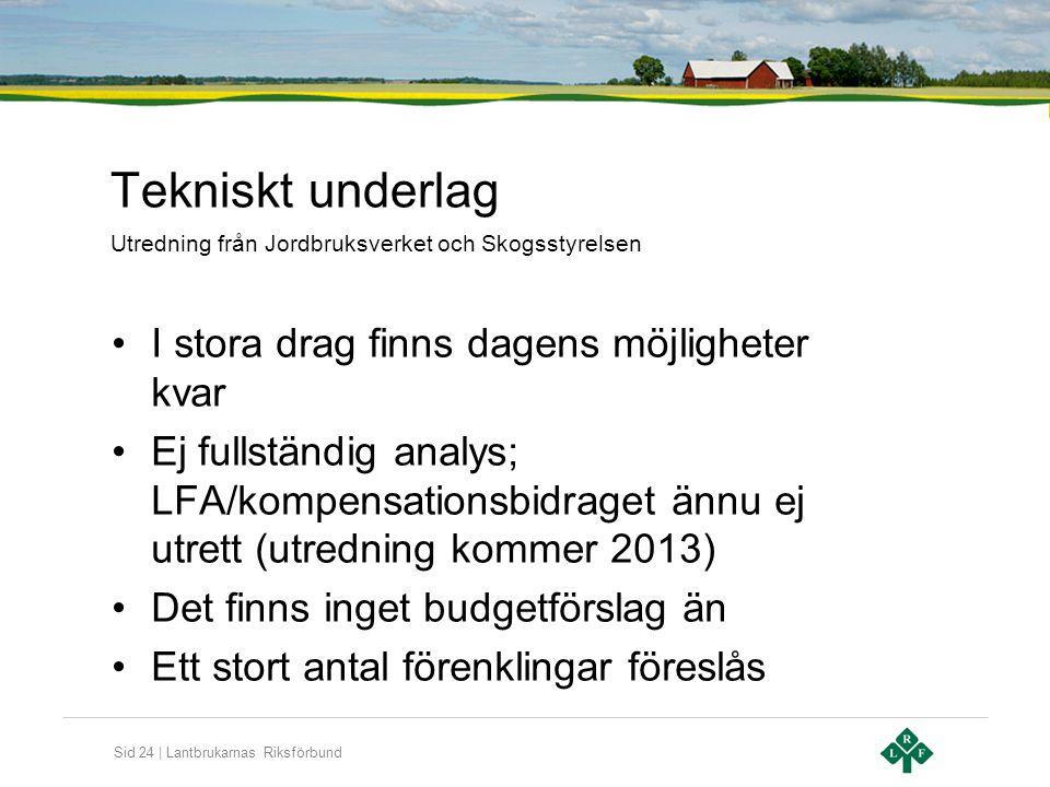 Sid 24 | Lantbrukarnas Riksförbund Tekniskt underlag •I stora drag finns dagens möjligheter kvar •Ej fullständig analys; LFA/kompensationsbidraget änn