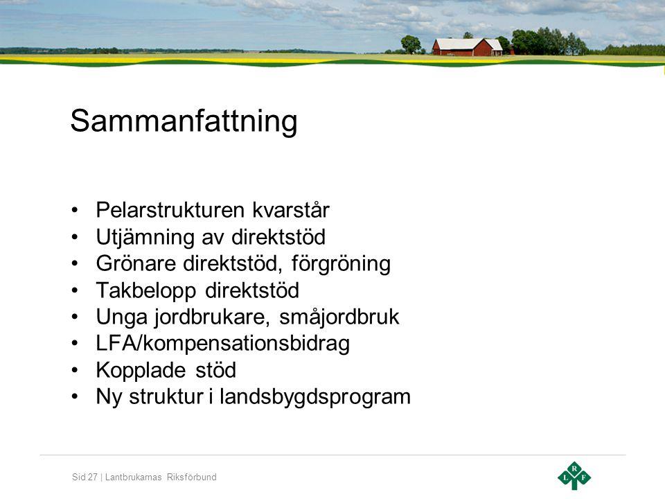Sid 27 | Lantbrukarnas Riksförbund Sammanfattning •Pelarstrukturen kvarstår •Utjämning av direktstöd •Grönare direktstöd, förgröning •Takbelopp direkt