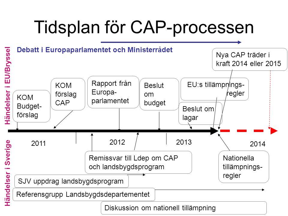 2012 2011 2013 Nya CAP träder i kraft 2014 eller 2015 KOM Budget- förslag KOM förslag CAP SJV uppdrag landsbygdsprogram Referensgrupp Landsbygdsdepart