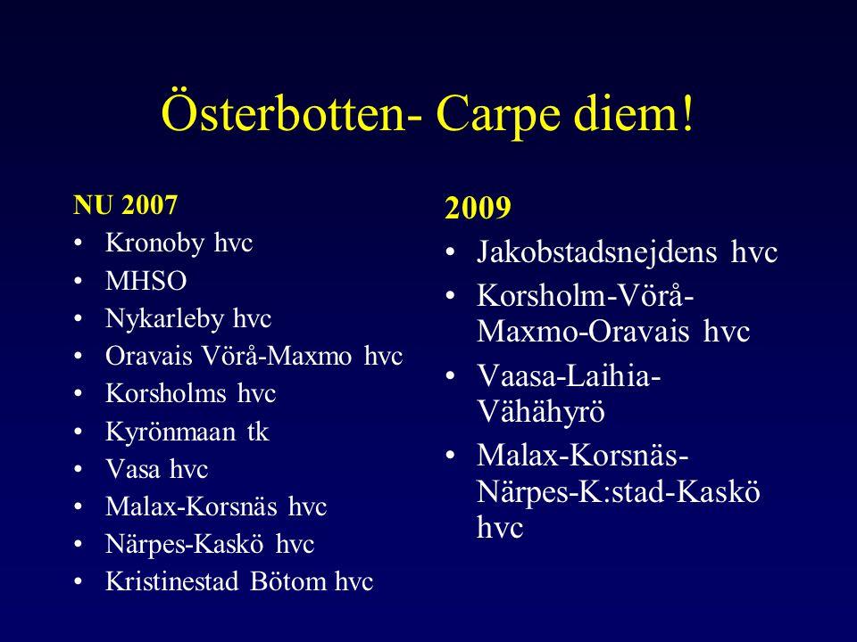 Hälsoläge i Österbotten •Ca 3-5 år längre livstid •Åldersstandardiserad förekomst av flera kroniska sjukdomar ca 20% under landets medeltal i svenskspråkiga kommuner •Psykiska välbefinnandet bättre än landets medeltal