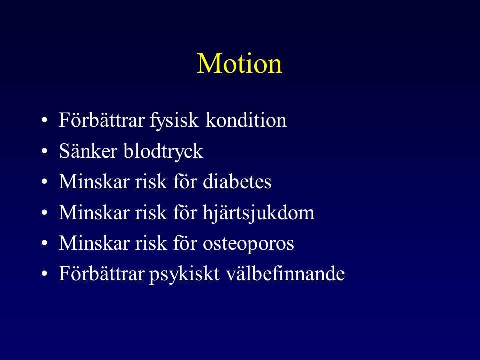 Kost •Rätt balanserad kost, rätt mängd •Kontroll av vikten •Förebyggande av hjärt- och kärlsjukdomar •Förebyggande av diabetes •Minska risk för osteoporos