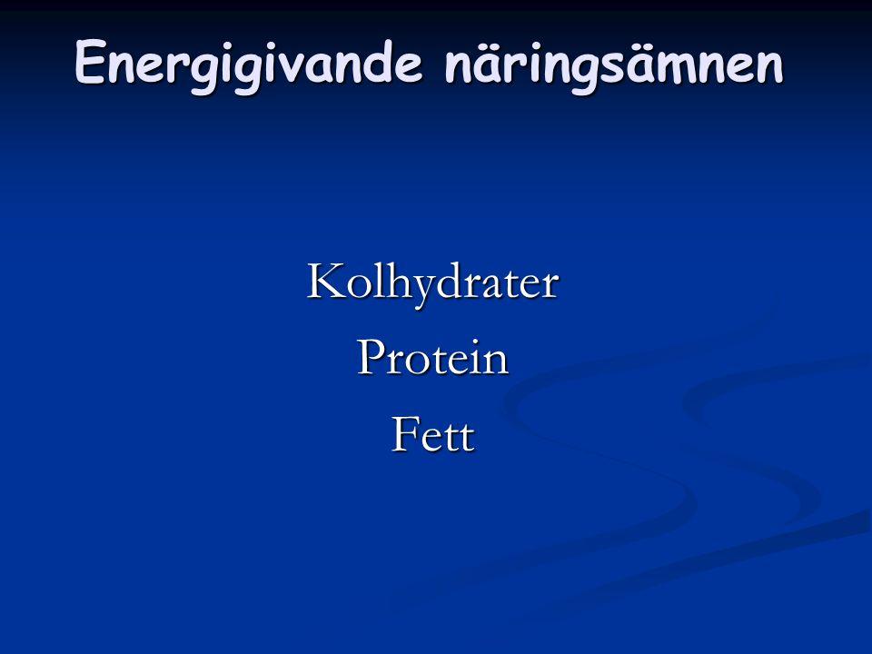 Kolhydrater Finns främst i livsmedel från växtriket.  Socker  Stärkelse  Kostfiber
