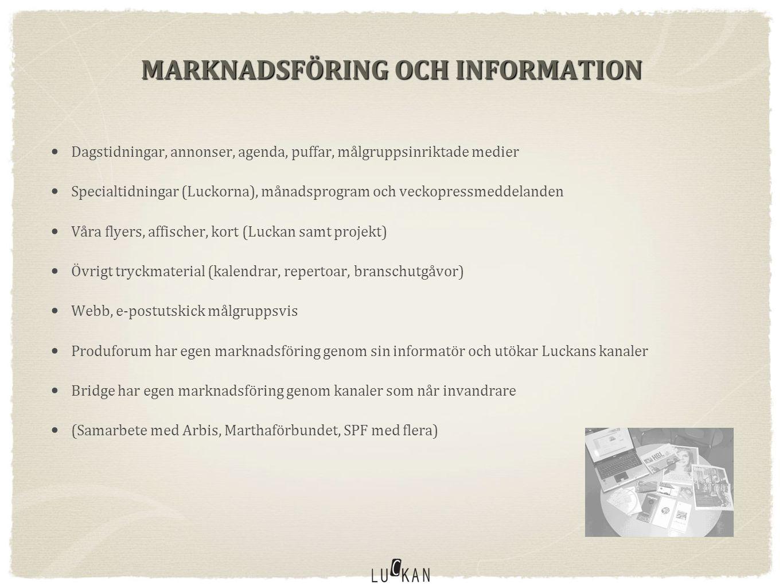 MARKNADSFÖRING OCH INFORMATION • Dagstidningar, annonser, agenda, puffar, målgruppsinriktade medier • Specialtidningar (Luckorna), månadsprogram och veckopressmeddelanden • Våra flyers, affischer, kort (Luckan samt projekt) • Övrigt tryckmaterial (kalendrar, repertoar, branschutgåvor) • Webb, e-postutskick målgruppsvis • Produforum har egen marknadsföring genom sin informatör och utökar Luckans kanaler • Bridge har egen marknadsföring genom kanaler som når invandrare • (Samarbete med Arbis, Marthaförbundet, SPF med flera)