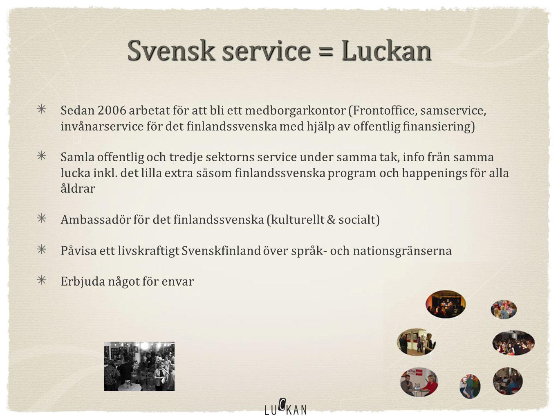 Svensk service = Luckan Sedan 2006 arbetat för att bli ett medborgarkontor (Frontoffice, samservice, invånarservice för det finlandssvenska med hjälp av offentlig finansiering) Samla offentlig och tredje sektorns service under samma tak, info från samma lucka inkl.