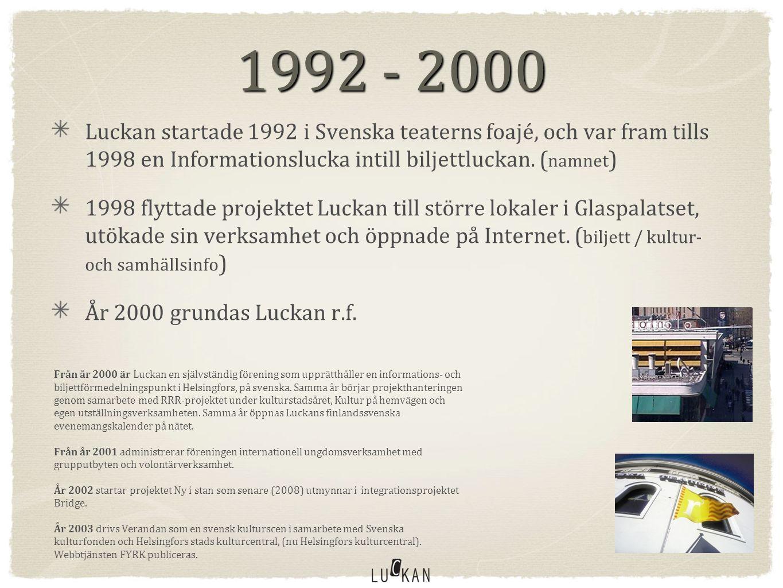 1992 - 2004 Luckan startade 1992 i Svenska teaterns foajé, och var fram tills 1998 en Informationslucka intill biljettluckan.