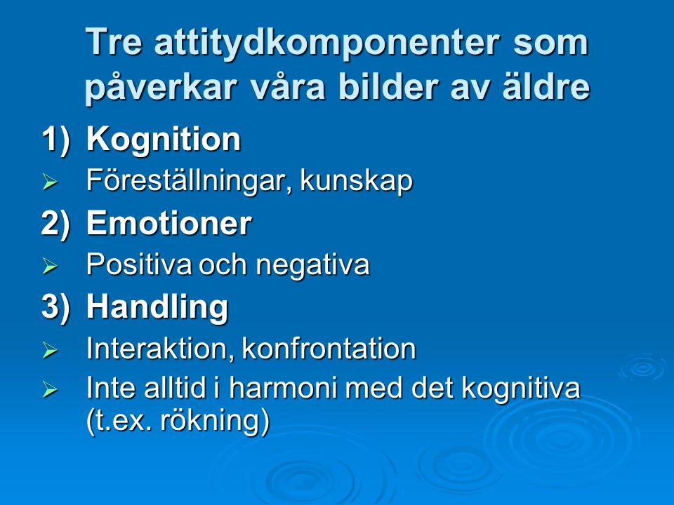 Tre attitydkomponenter som påverkar våra bilder av äldre 1)Kognition  Föreställningar, kunskap 2) Emotioner  Positiva och negativa 3)Handling  Inte
