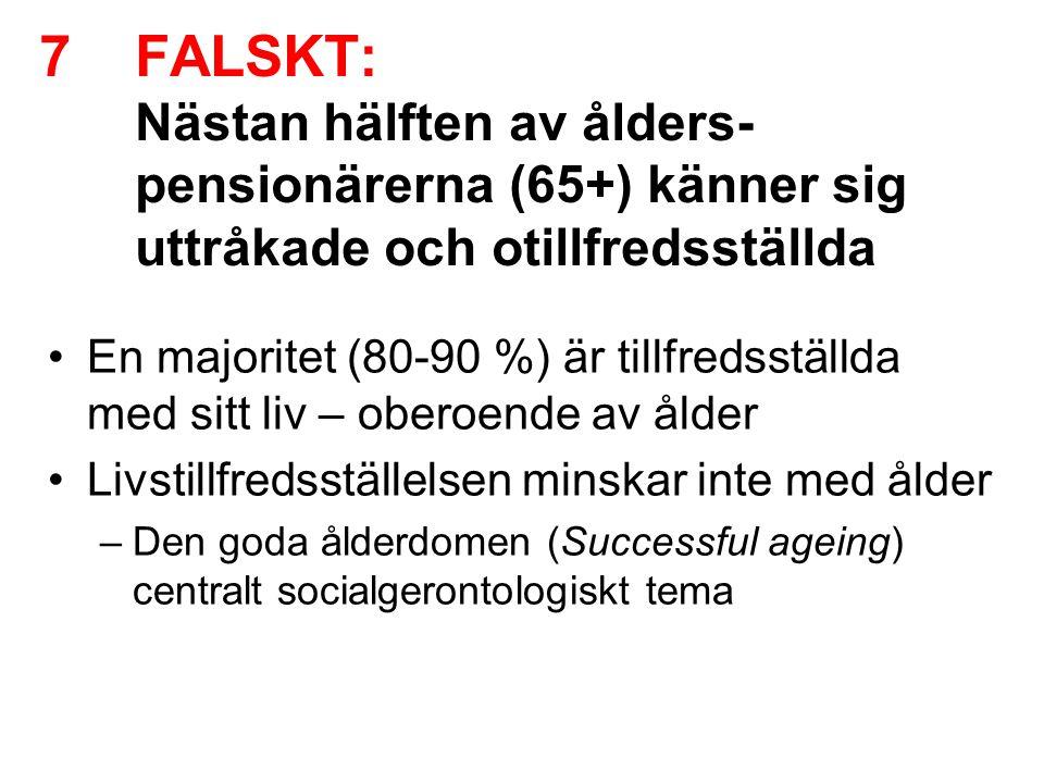 7FALSKT: Nästan hälften av ålders- pensionärerna (65+) känner sig uttråkade och otillfredsställda •En majoritet (80-90 %) är tillfredsställda med sitt