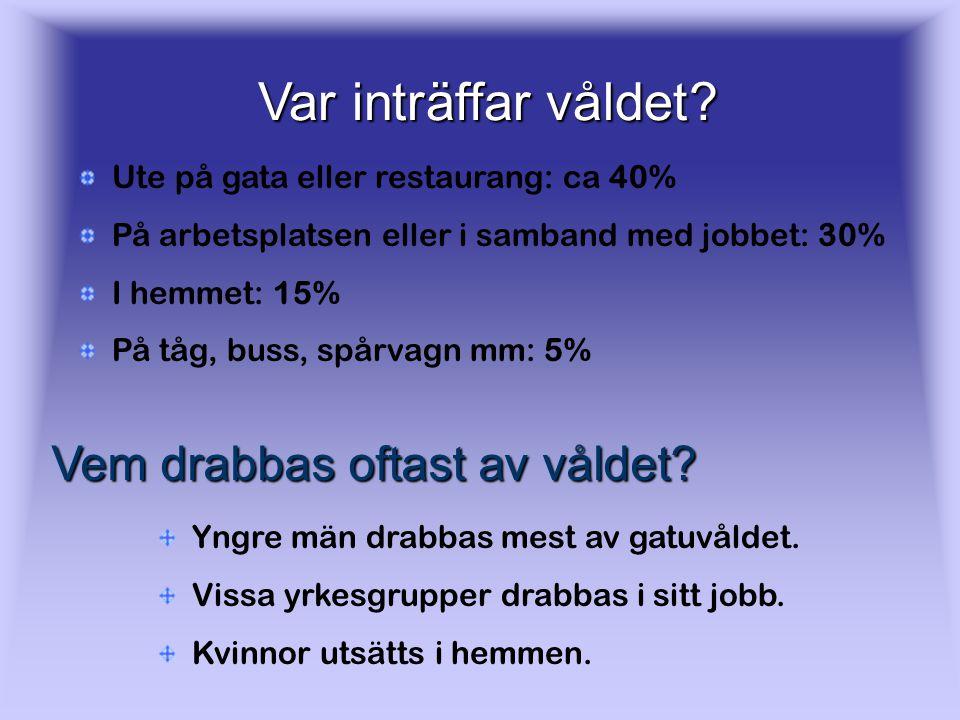 Våldsbrott Enligt undersökningar som görs varje år så uppger 5-6% av de vuxna i Sverige att de blivit utsatta för våld eller hot. Ca 2% har blivit uts