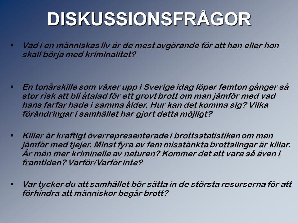 Fängelse & rehabilitering Varje år sitter ca 5500 personer i häkte eller i fängelse Varje år döms ca 2000 människor till fängelse Det finns 55 fängelser i Sverige Vi skall arbeta för att människor som dömts för brott behandlas så att deras förutsättningar att leva ett laglydigt och värdigt liv ökar. Kriminalvården