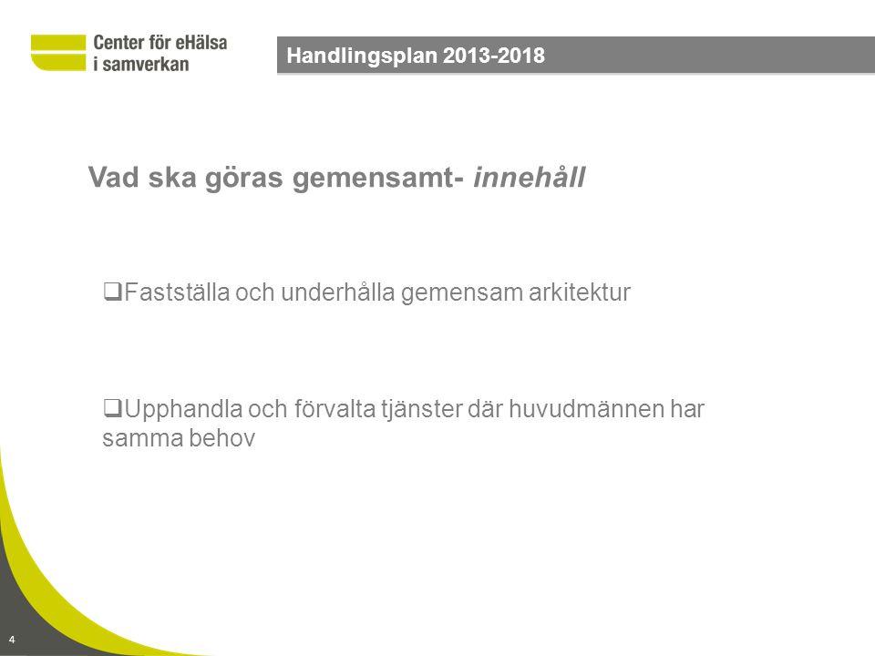 4 Handlingsplan 2013-2018  Fastställa och underhålla gemensam arkitektur  Upphandla och förvalta tjänster där huvudmännen har samma behov Vad ska gö