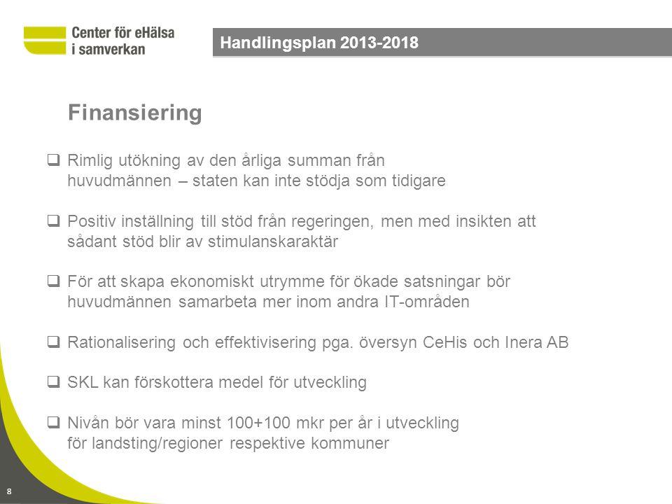 9 Handlingsplan 2013-2018  Införande betalas av respektive huvudman, men hålls ihop av gemensamma införandeprojekt  Översyn av sättet att ta betalt för förvaltning i syfte att den till större del baseras på användning  Vissa tjänster kan utvecklas och drivas av en enskild huvudman på uppdrag av samtliga övriga via CeHis  Tjänster som inte kommer att utföras av huvudmännen konkurrensutsätts Ekonomimodell
