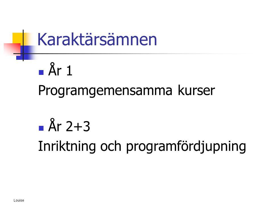 Louise Karaktärsämnen  År 1 Programgemensamma kurser  År 2+3 Inriktning och programfördjupning
