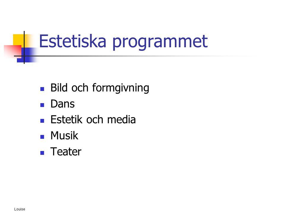Louise Estetiska programmet  Bild och formgivning  Dans  Estetik och media  Musik  Teater