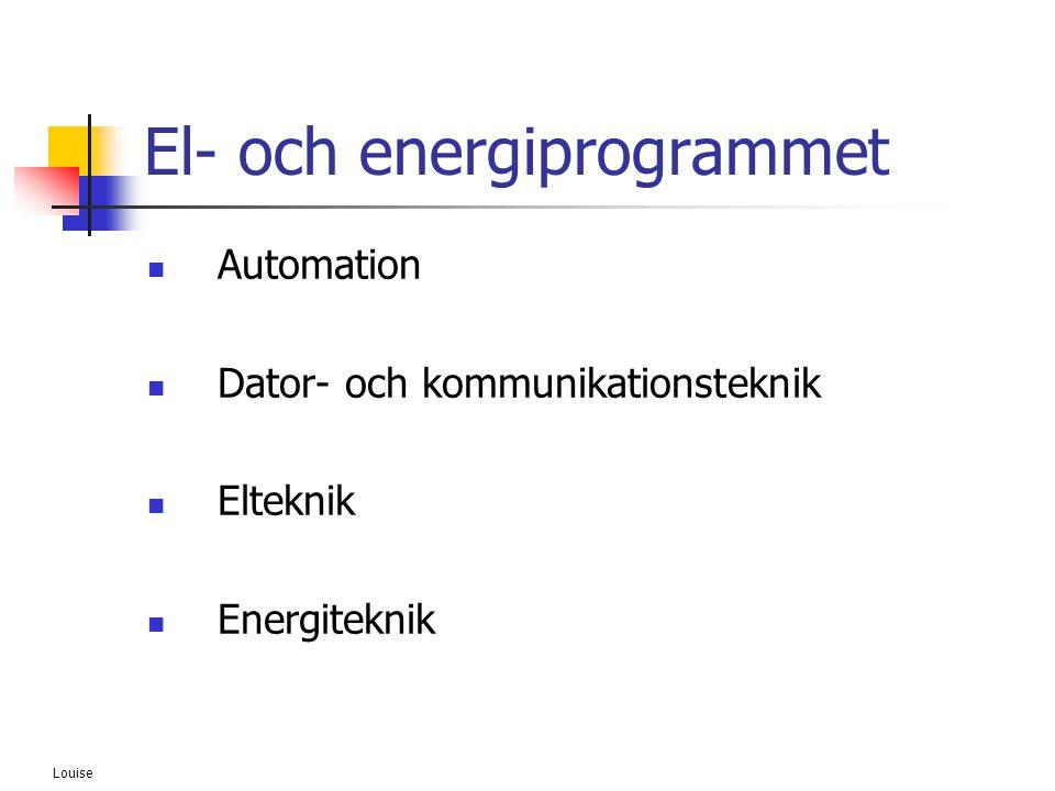 Louise El- och energiprogrammet  Automation  Dator- och kommunikationsteknik  Elteknik  Energiteknik