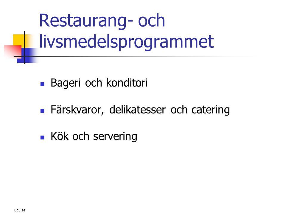 Louise Restaurang- och livsmedelsprogrammet  Bageri och konditori  Färskvaror, delikatesser och catering  Kök och servering
