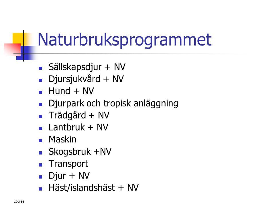 Louise Naturbruksprogrammet  Sällskapsdjur + NV  Djursjukvård + NV  Hund + NV  Djurpark och tropisk anläggning  Trädgård + NV  Lantbruk + NV  M