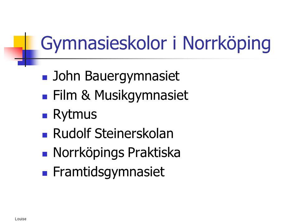 Louise Gymnasieskolor i Norrköping  John Bauergymnasiet  Film & Musikgymnasiet  Rytmus  Rudolf Steinerskolan  Norrköpings Praktiska  Framtidsgym