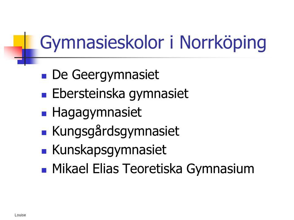 Louise Gymnasieskolor i Norrköping  De Geergymnasiet  Ebersteinska gymnasiet  Hagagymnasiet  Kungsgårdsgymnasiet  Kunskapsgymnasiet  Mikael Elia