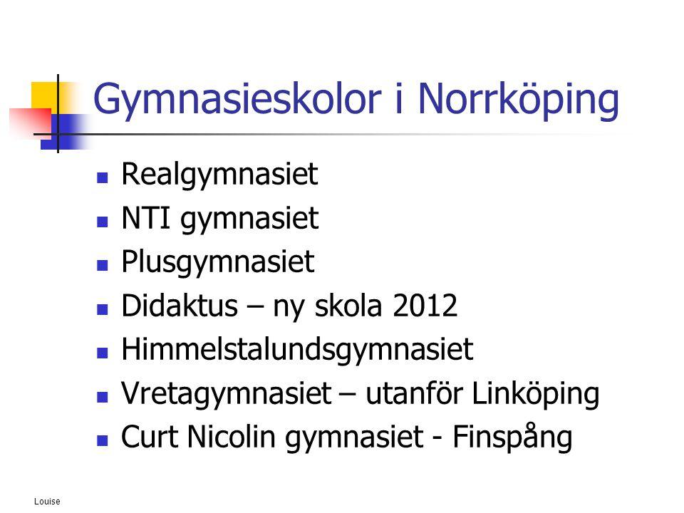 Louise Gymnasieskolor i Norrköping  Realgymnasiet  NTI gymnasiet  Plusgymnasiet  Didaktus – ny skola 2012  Himmelstalundsgymnasiet  Vretagymnasi