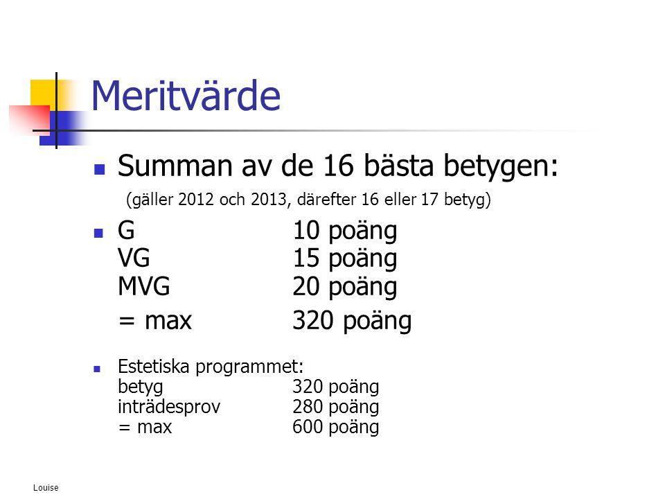 Louise Meritvärde  Summan av de 16 bästa betygen: (gäller 2012 och 2013, därefter 16 eller 17 betyg)  G10 poäng VG15 poäng MVG20 poäng = max 320 poä