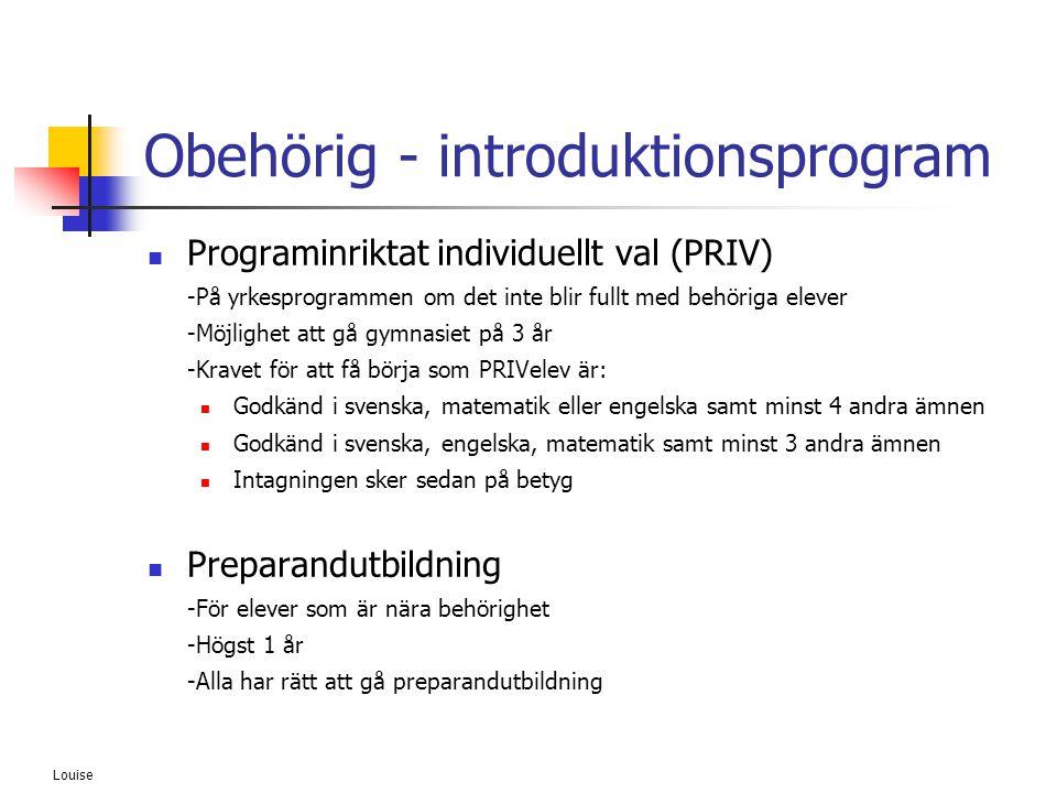 Louise Obehörig - introduktionsprogram  Programinriktat individuellt val (PRIV) -På yrkesprogrammen om det inte blir fullt med behöriga elever -Möjli