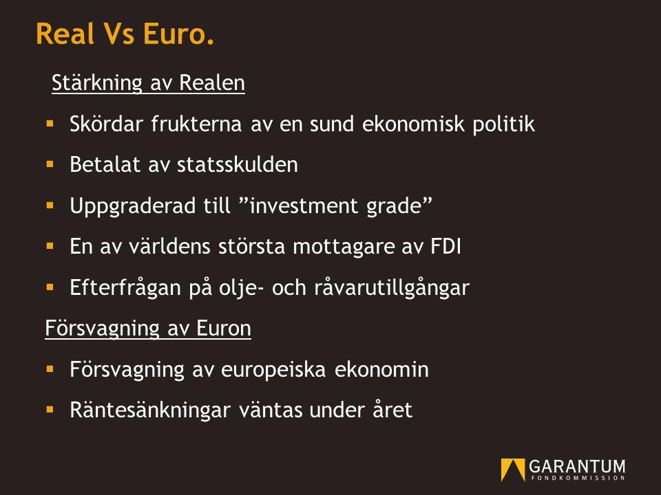 """Real Vs Euro. Stärkning av Realen  Skördar frukterna av en sund ekonomisk politik  Betalat av statsskulden  Uppgraderad till """"investment grade""""  E"""
