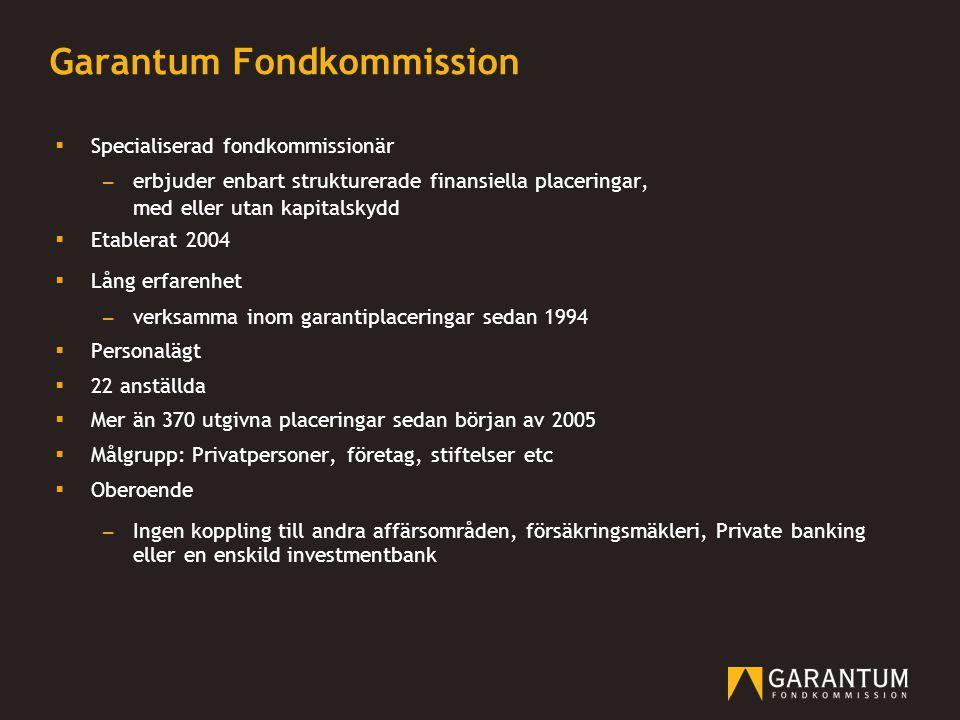 Garantum Fondkommission  Specialiserad fondkommissionär – erbjuder enbart strukturerade finansiella placeringar, med eller utan kapitalskydd  Etable